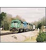 Q583 moves South bound through Ringgold, Ga. with 2 leased units and 2 CSX units.