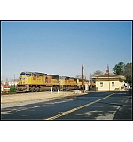 The stillness of Small Town America is broken by CSX Q123 on this crisp January morning.