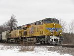UP power leads an eastbound CP ethanol train at Duplainville, WI. March 6th, 2011