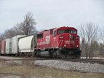 A 'Candy Apple' SD60M heads a CP 'One unit wonder' East at Duplainville. March 15th, 2011