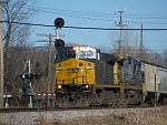 CSX power leads a westbound CP empty grain train across the Duplainville diamond. March 30th, 2011