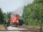 A southbound rounds the curve into Waukesha, WI. August 17th, 2011