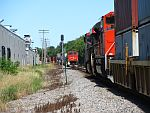A southbound stack train (with a surprise) waits for a northbound as it heads for the siding. August 18th, 2011