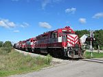 WSOR waits for the go ahead to head east at Ackerville, WI. September 5th, 2011