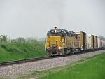 UP's LPA53 rolls west at Merton, WI. May 21st, 2011