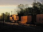 A CP stack train rolls east towards Milwaukee at sunrise. Duplainville. May 23rd, 2011
