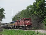 St. Lawrence and Hudson SD40's lead an eastbound CP ethanol train through Duplainville. June 25th, 2011