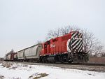 CP 3015 holds train G67 as he waits for dispatch to give him the diamond at Duplainville, WI. March 3rd, 2011