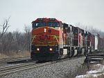 Newly bought power from the BNSF is on point of a CN northbound at Duplainville. March 15th, 2011