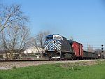A CEFX 'BlueBonnet' leads a westbound 'one unit wonder' at Duplainville. April 29th, 2011
