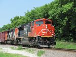 A CN southbound manifest rolls along into Waukesha, WI. June 26th, 2011